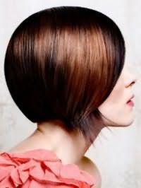 Женская стрижка двойное каре для прямых волос каштанового оттенка