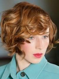 Вечерняя укладка стрижки каре для средних волос рыжего оттенка