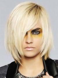 Красивая стрижка градуированное каре с косой челкой для блондинки с прямыми волосами